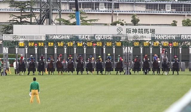 ゴールドシップはゲート内で立ち上がり大出遅れ(右から2頭目、撮影:日刊ゲンダイ)